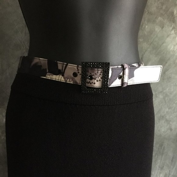 st john purple black white crystal buckle belt